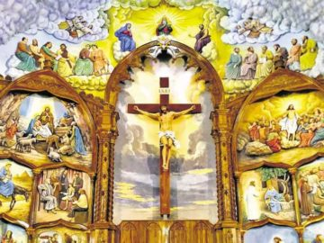 The altarpiece at Our Lady of Fatima church in Perampalli, Udupi, 50 ft high and carved out of wood, is a fine example of the studio's work. Within it is a 20-ft crucifix, embossed murals on Christ's life, cloud ceilings, the 12 Apostles and the Virgin Mary.
