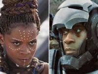 Don Cheadle as War Machine and Letitia Wright as Shuri.