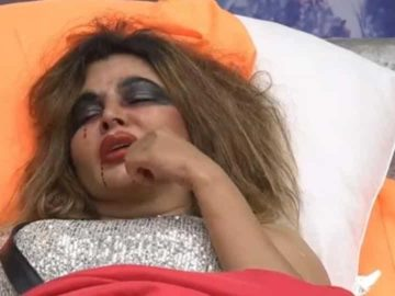 Bigg Boss 14 promo: Rakhi Sawant had hurt her nose in a tussle with Jasmin Bhasin.