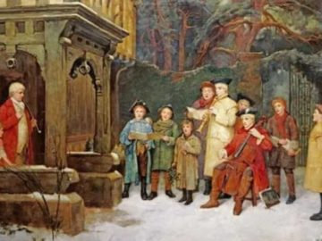 """The Carol Singers by William M Spittle (1858 - 1917). Most carols started out as folk songs, and the term carolling originally meant """"to dance in a ring""""."""