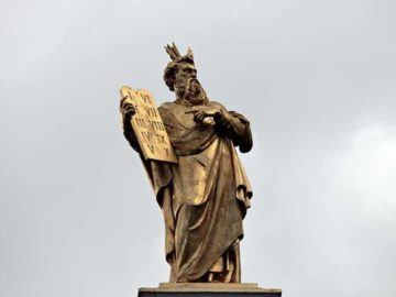 A statue in Bruges, Belgium, of Moses holding up the Ten Commandments. Christianity, like most organised religions, is full of lists that describe and prescribe.